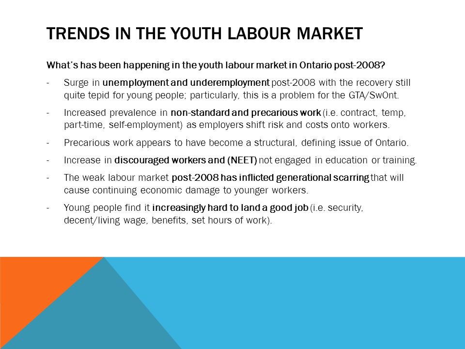 TRENDS IN THE YOUTH LABOUR MARKET What's has been happening in the youth labour market in Ontario post-2008.