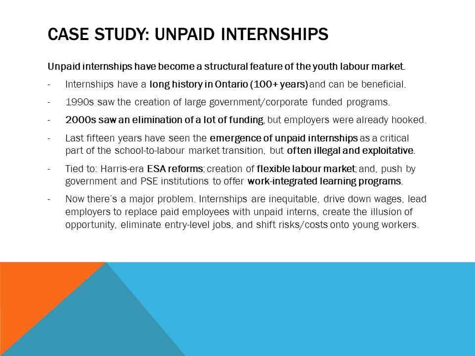 CASE STUDY: UNPAID INTERNSHIPS Unpaid internships have become a structural feature of the youth labour market.
