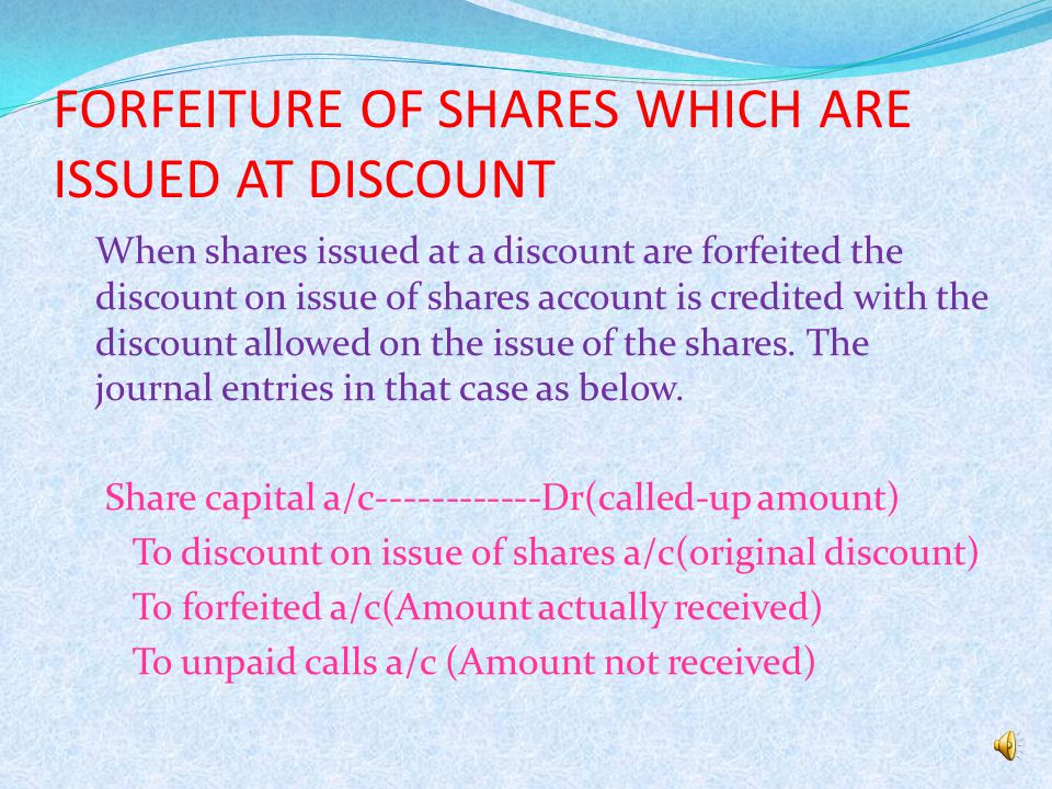 FORFEITURE OF SHARES WHICH ARE ISSUED AT PREMIUM  In this case two conditions arises that is the premium amount has been received or not.