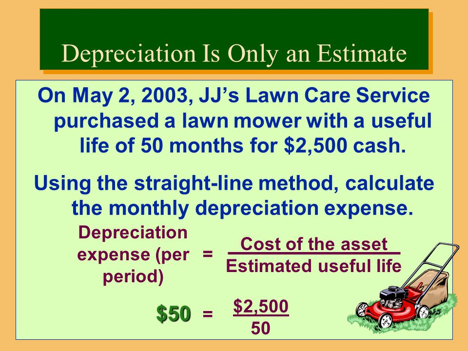 On May 2, 2003, JJ's Lawn Care Service purchased a lawn mower with a useful life of 50 months for $2,500 cash.