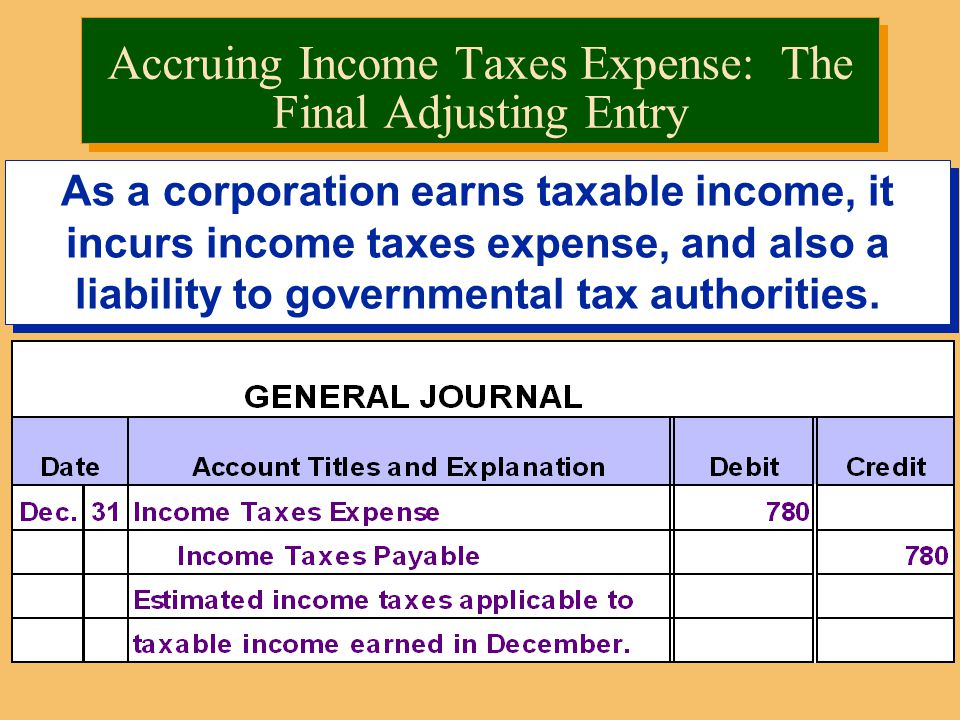 As a corporation earns taxable income, it incurs income taxes expense, and also a liability to governmental tax authorities.