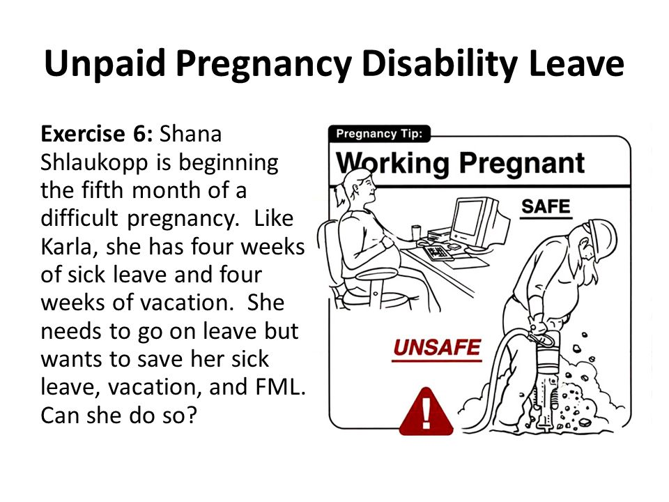 Unpaid Pregnancy Disability Leave Exercise 6: Shana Shlaukopp is beginning the fifth month of a difficult pregnancy.