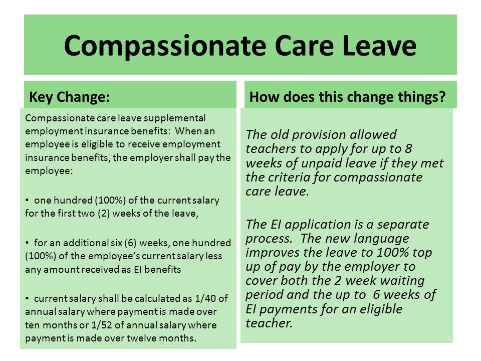 Compassionate Care Leave Key Change: Compassionate care leave supplemental employment insurance benefits: When an employee is eligible to receive employment insurance benefits, the employer shall pay the employee: one hundred (100%) of the current salary for the first two (2) weeks of the leave, for an additional six (6) weeks, one hundred (100%) of the employee's current salary less any amount received as EI benefits current salary shall be calculated as 1/40 of annual salary where payment is made over ten months or 1/52 of annual salary where payment is made over twelve months.