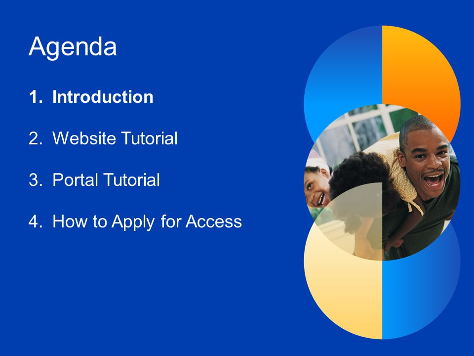 Agenda 1.Introduction 2.Website Tutorial 3.Portal Tutorial 4.How to Apply for Access
