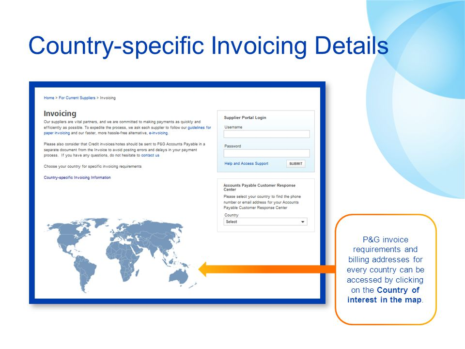Country-specific Invoicing Details P&G invoice requirements and billing addresses for every country can be accessed by clicking on the Country of inte