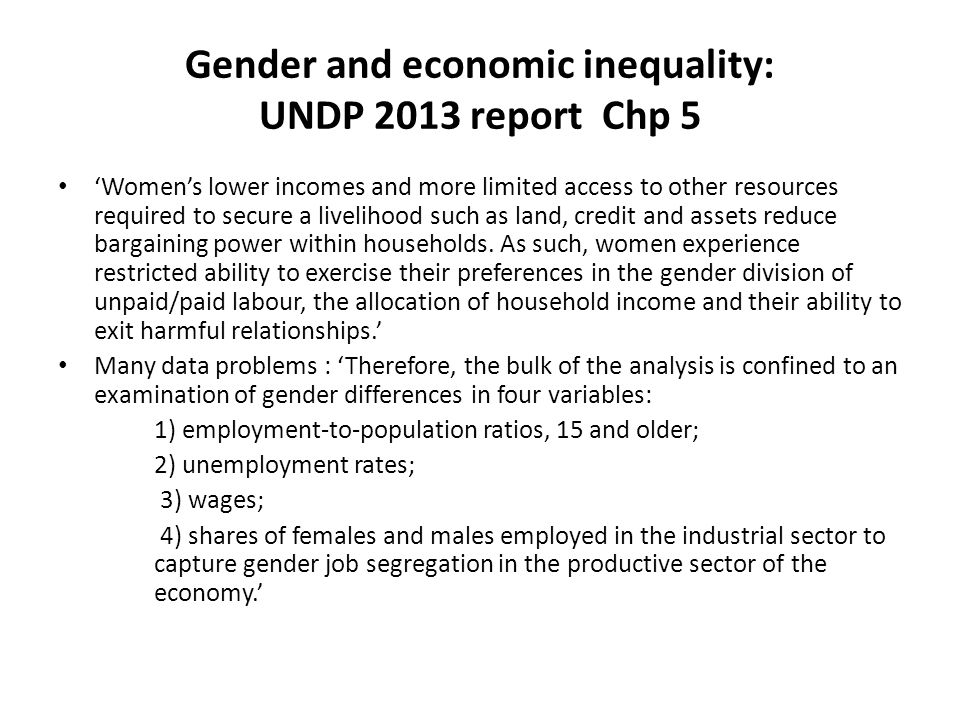 Gender and economic inequality: UNDP 2013 report Chp 5 'Women's lower incomes and more limited access to other resources required to secure a liveliho