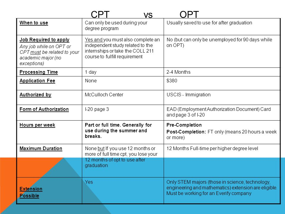 CPT vs OPT When to useCan only be used during your degree program Usually saved to use for after graduation Job Required to apply Any job while on OPT