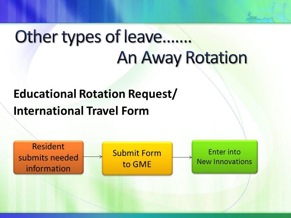 Educational Rotation Request/ International Travel Form Submit Form to GME Submit Form to GME Enter into New Innovations Enter into New Innovations Re