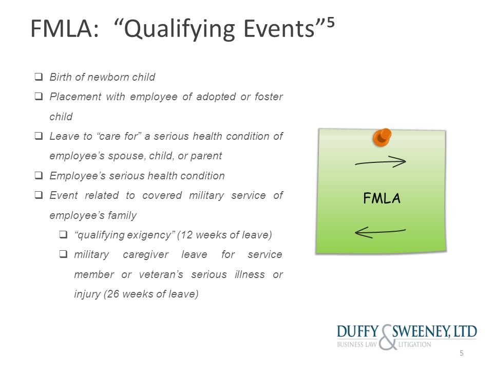 FMLA: Serious Health Condition Means: Illness, injury or physical or mental condition that involves either:  inpatient care; or  continuing treatment by a health care provider Inpatient care includes an overnight stay at a hospital, hospice, or residential treatment facility.