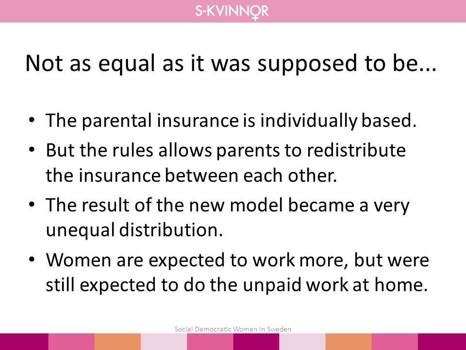 Not as equal as it was supposed to be... The parental insurance is individually based.