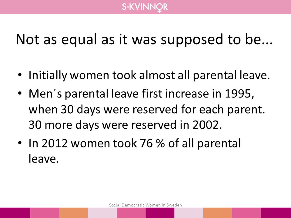 Initially women took almost all parental leave.