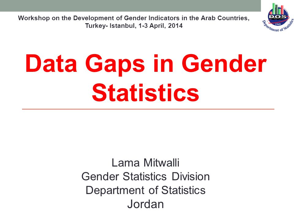 Lama Mitwalli Gender Statistics Division Department of Statistics Jordan Data Gaps in Gender Statistics Workshop on the Development of Gender Indicators in the Arab Countries, Turkey- Istanbul, 1-3 April, 2014