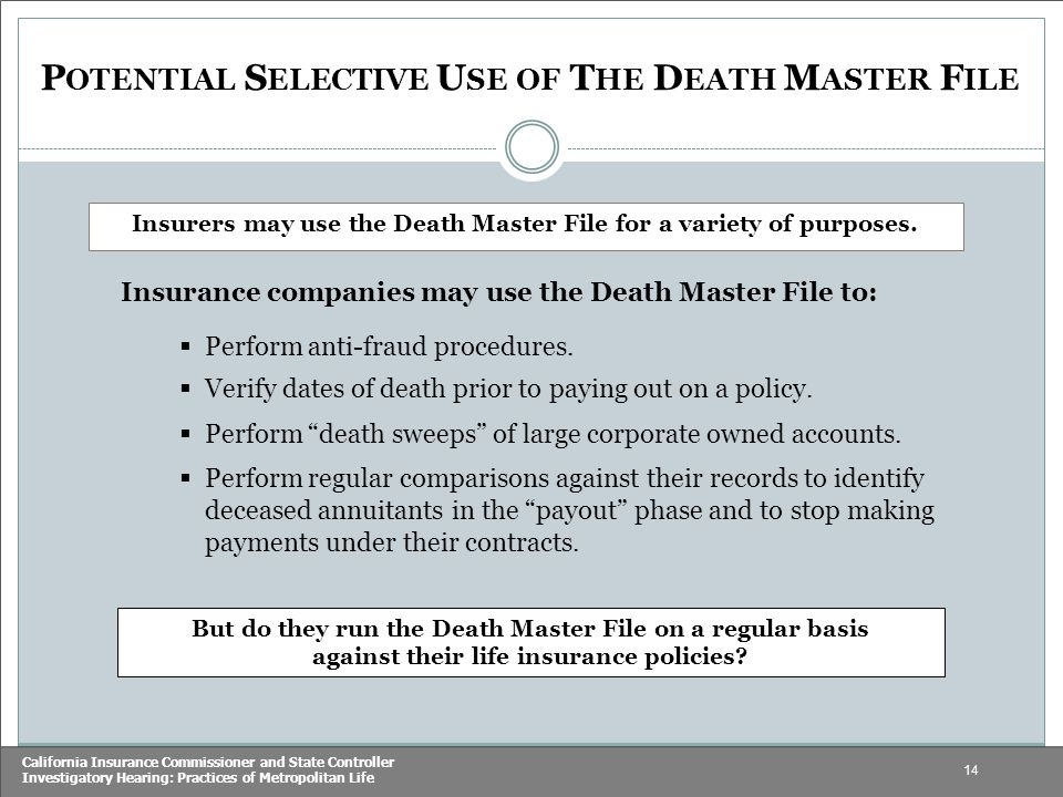 14 California Insurance Commissioner and State Controller Investigatory Hearing: Practices of Metropolitan Life Insurers may use the Death Master File for a variety of purposes.