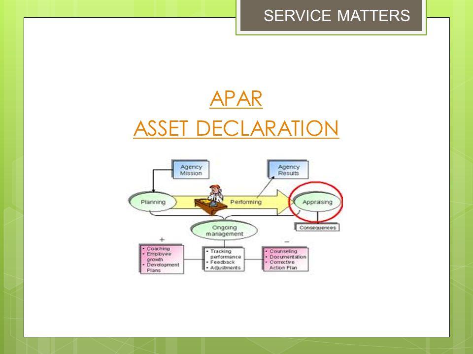SERVICE MATTERS APAR ASSET DECLARATION