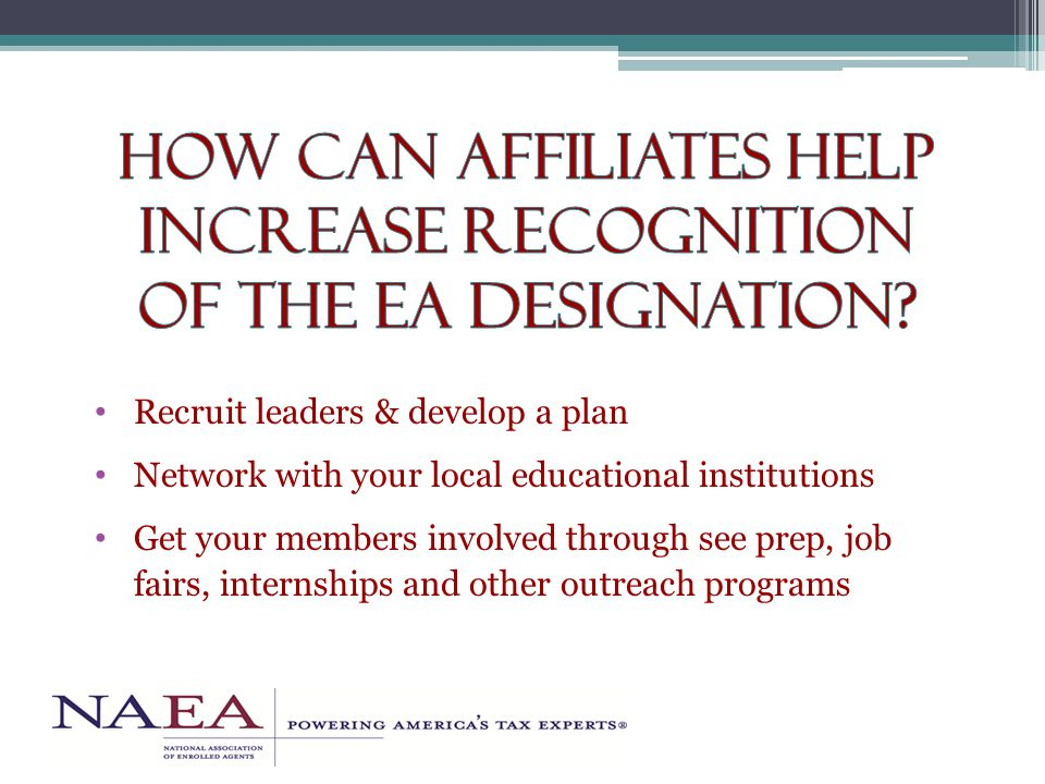 Recruit leaders & develop a plan Network with your local educational institutions Get your members involved through see prep, job fairs, internships and other outreach programs