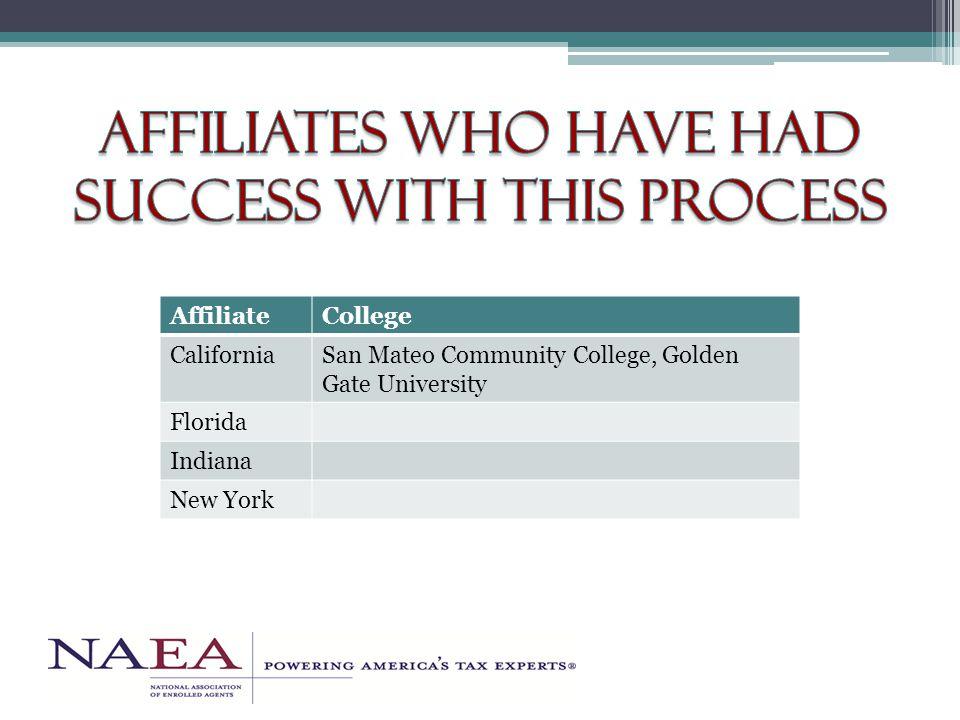AffiliateCollege CaliforniaSan Mateo Community College, Golden Gate University Florida Indiana New York