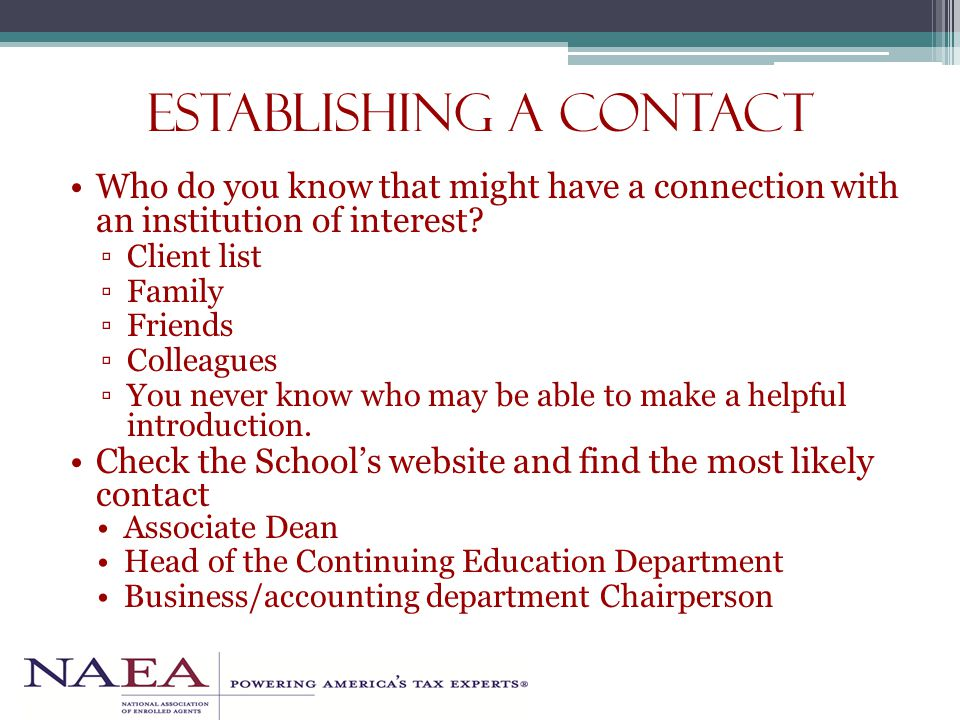 Establishing a contact Who do you know that might have a connection with an institution of interest.