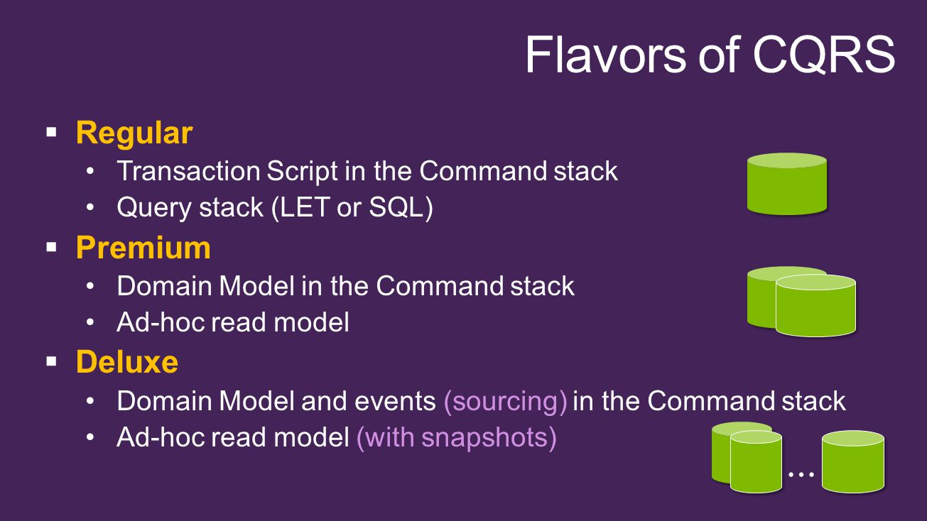  Regular Transaction Script in the Command stack Query stack (LET or SQL)  Premium Domain Model in the Command stack Ad-hoc read model  Deluxe Domain Model and events (sourcing) in the Command stack Ad-hoc read model (with snapshots) …