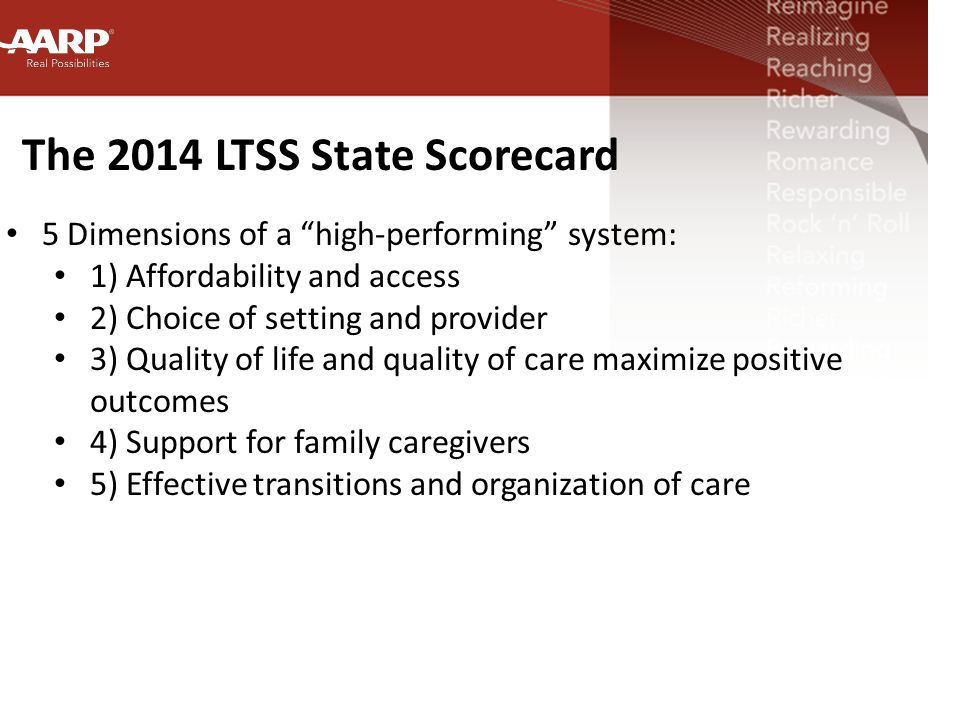 The 2014 LTSS State Scorecard 5 Dimensions of a high-performing system: 1) Affordability and access 2) Choice of setting and provider 3) Quality of life and quality of care maximize positive outcomes 4) Support for family caregivers 5) Effective transitions and organization of care
