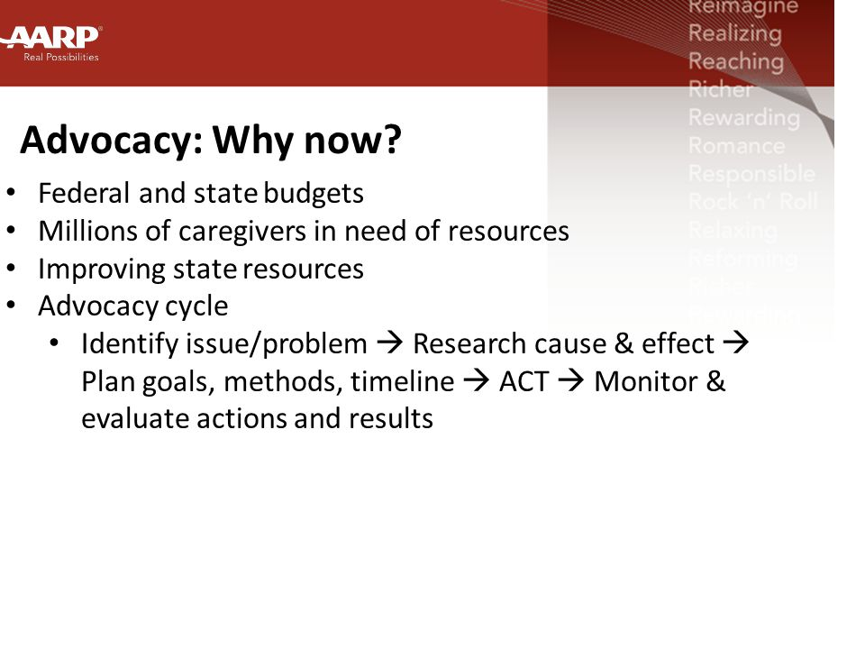 Advocacy: Why now.
