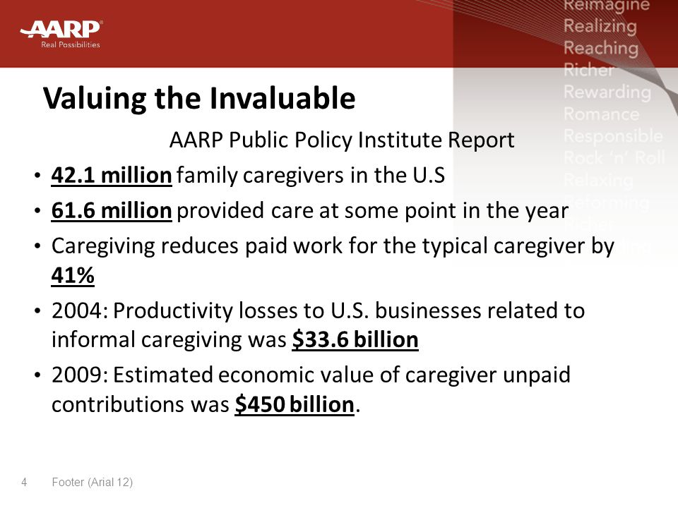 Valuing the Invaluable Footer (Arial 12)4 AARP Public Policy Institute Report 42.1 million family caregivers in the U.S 61.6 million provided care at some point in the year Caregiving reduces paid work for the typical caregiver by 41% 2004: Productivity losses to U.S.
