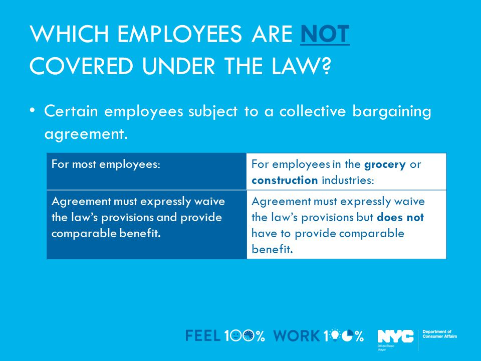 WHICH EMPLOYEES ARE NOT COVERED UNDER THE LAW.