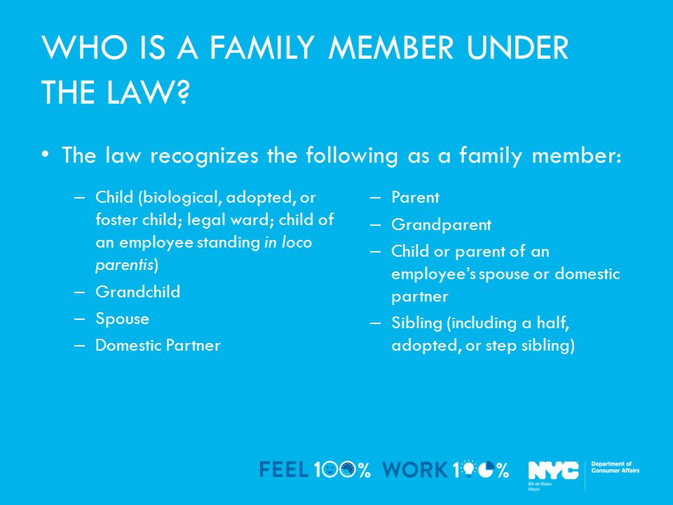 WHO IS A FAMILY MEMBER UNDER THE LAW.