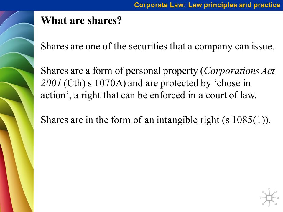Corporate Law: Law principles and practice What are shares.
