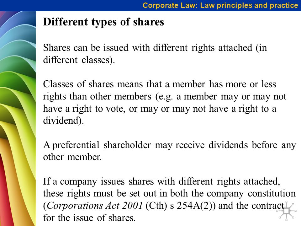Different types of shares Shares can be issued with different rights attached (in different classes).