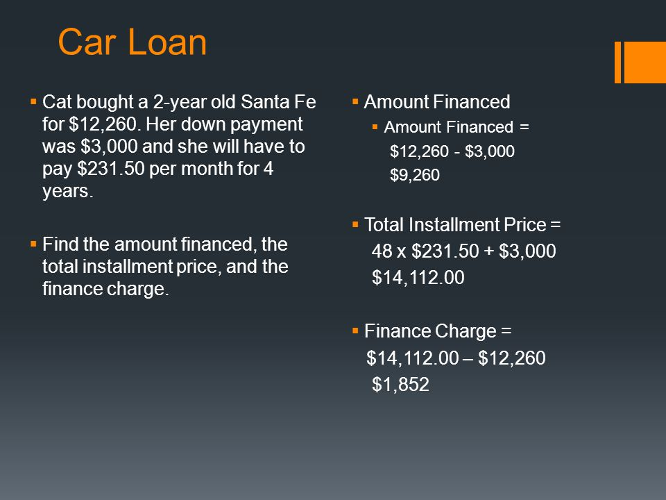 Car Loan  Cat bought a 2-year old Santa Fe for $12,260.