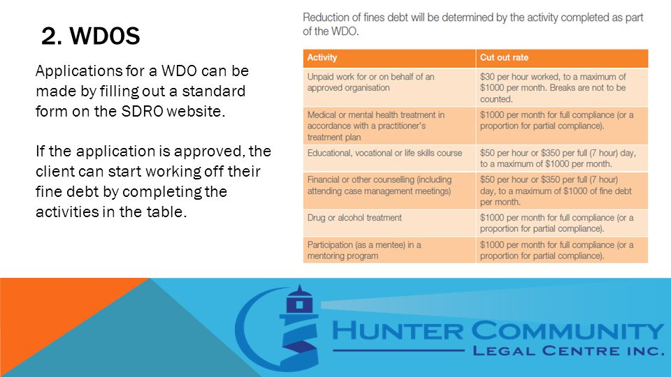 2. WDOS Applications for a WDO can be made by filling out a standard form on the SDRO website.