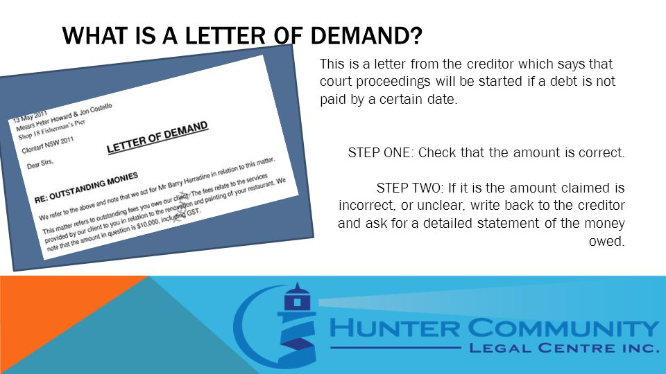 WHAT IS A LETTER OF DEMAND.