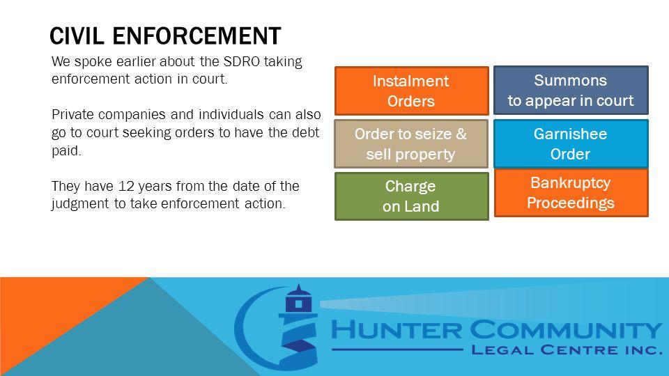 CIVIL ENFORCEMENT We spoke earlier about the SDRO taking enforcement action in court.