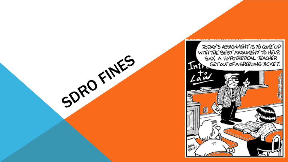 THE SDRO FINES PROCESS Penalty Notice or Court Fine is issued SDRO Makes and Enforcement Order Civil Enforcement & Other Sanctions A B C Always encourage your clients to deal with fines straight away.