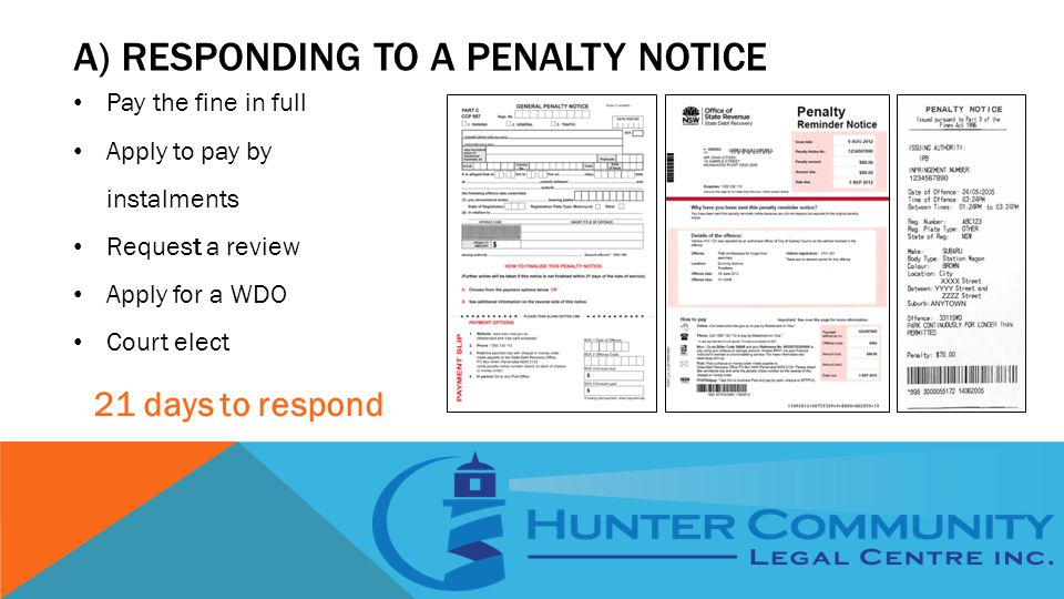 A) RESPONDING TO A PENALTY NOTICE Pay the fine in full Apply to pay by instalments Request a review Apply for a WDO Court elect 21 days to respond