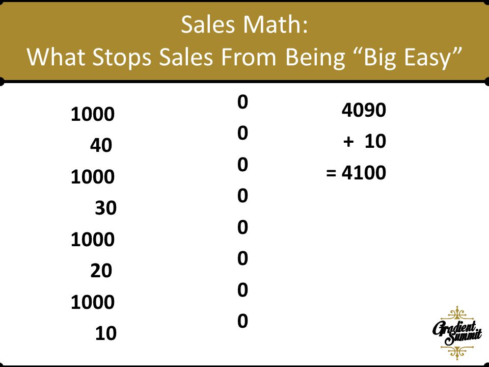 1000 40 1000 30 1000 20 1000 10 Sales Math: What Stops Sales From Being Big Easy 0 0 0 0 0 0 0 0 4090 + 10 = 4100
