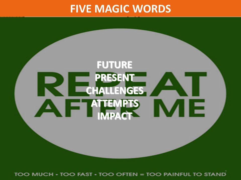 FUTURE PRESENT CHALLENGES ATTEMPTSIMPACT FIVE MAGIC WORDS 7