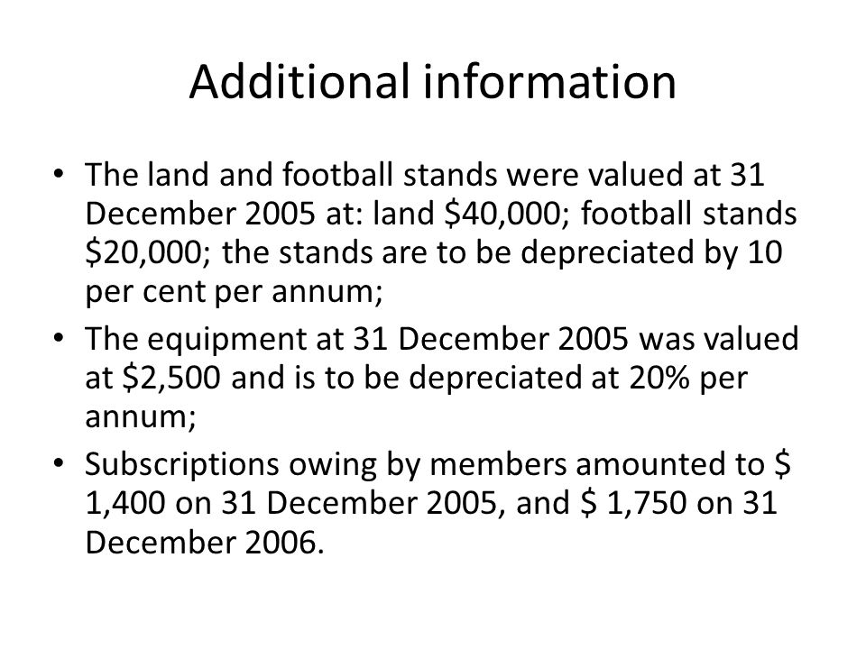 Additional information The land and football stands were valued at 31 December 2005 at: land $40,000; football stands $20,000; the stands are to be de