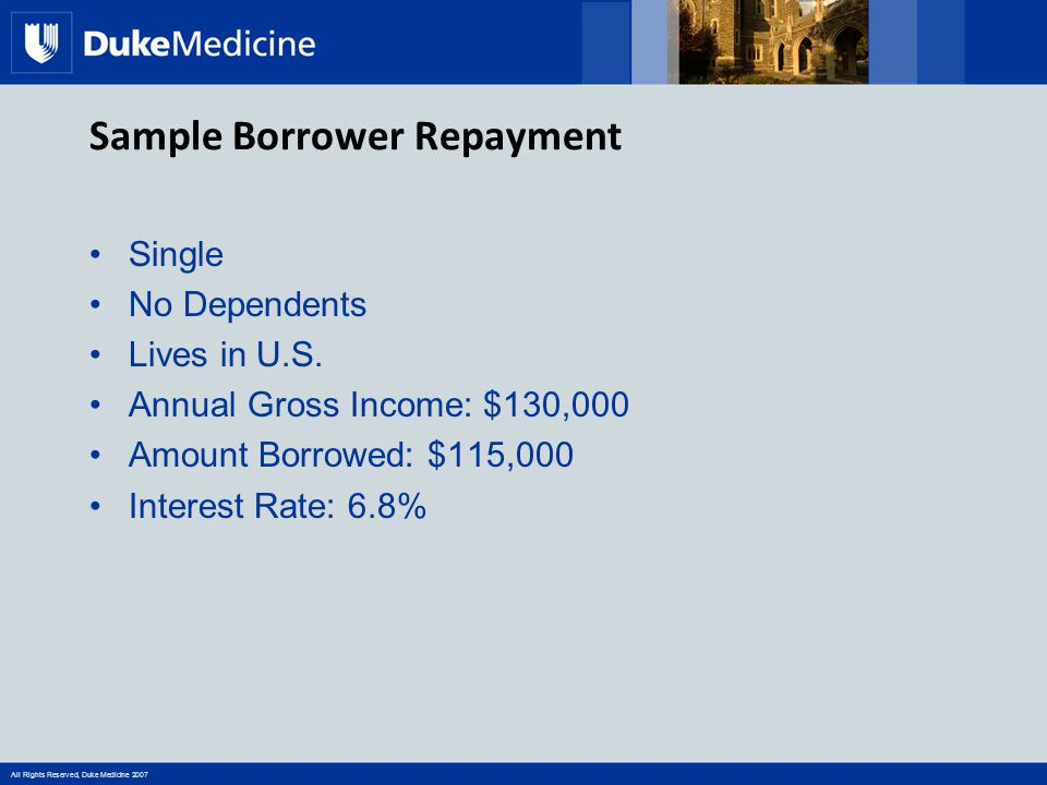 All Rights Reserved, Duke Medicine 2007 Sample Borrower Repayment Single No Dependents Lives in U.S. Annual Gross Income: $130,000 Amount Borrowed: $1