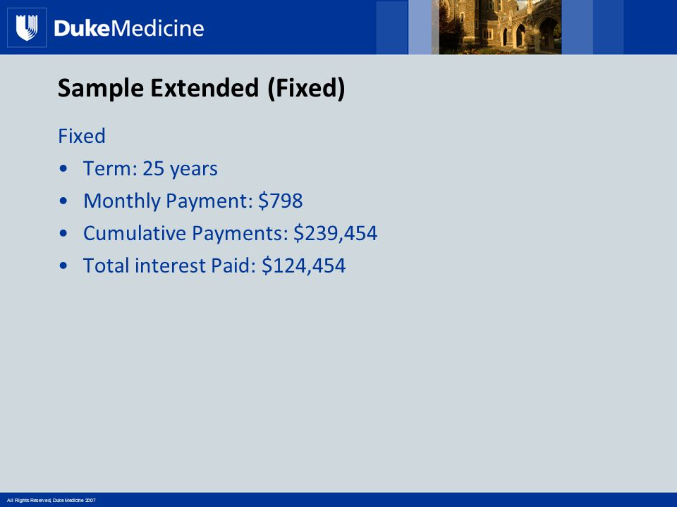 All Rights Reserved, Duke Medicine 2007 Sample Extended (Fixed) Fixed Term: 25 years Monthly Payment: $798 Cumulative Payments: $239,454 Total interes
