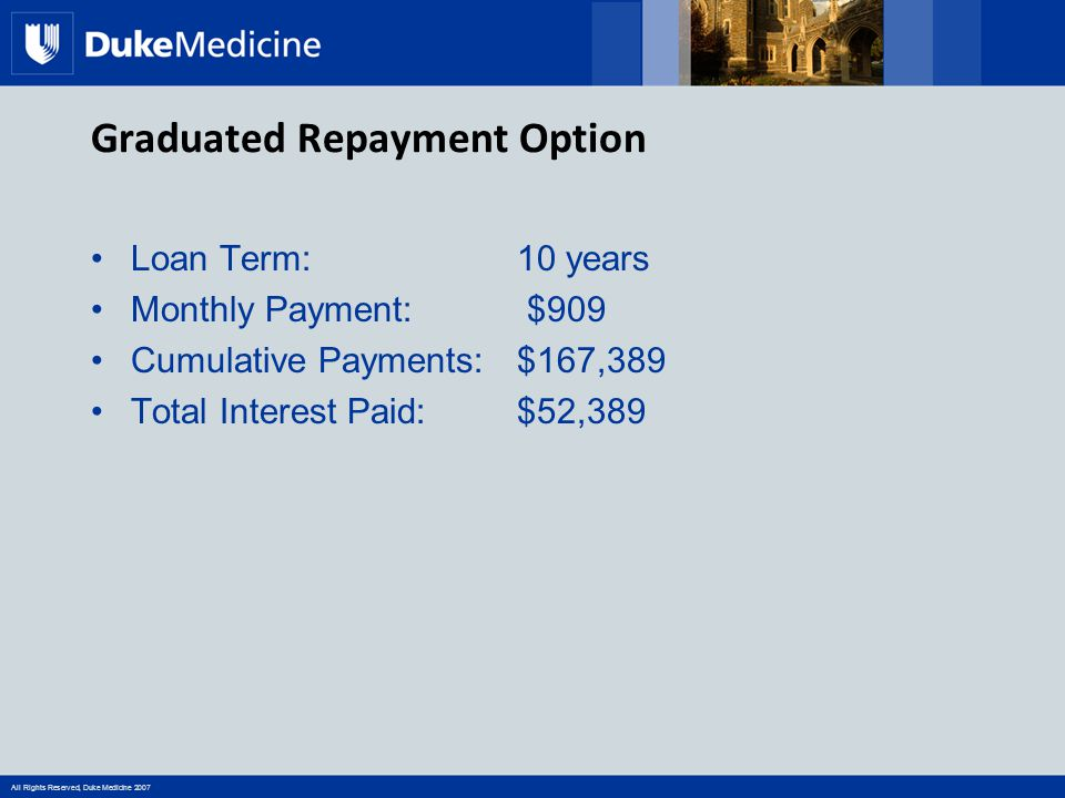All Rights Reserved, Duke Medicine 2007 Graduated Repayment Option Loan Term:10 years Monthly Payment: $909 Cumulative Payments: $167,389 Total Interest Paid: $52,389