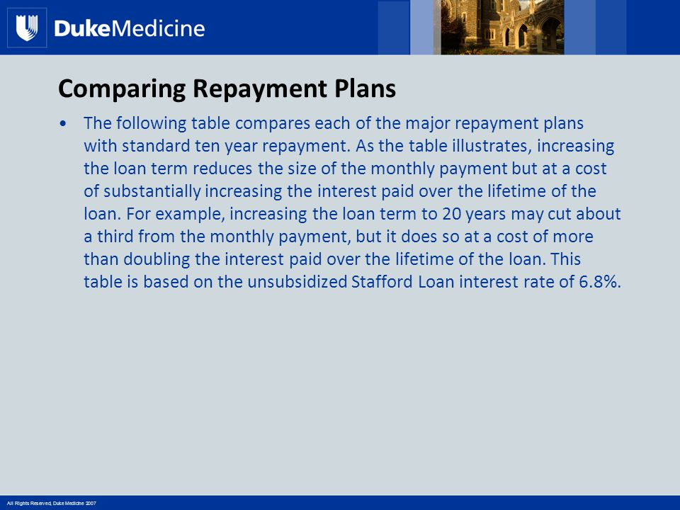 All Rights Reserved, Duke Medicine 2007 Comparing Repayment Plans The following table compares each of the major repayment plans with standard ten yea