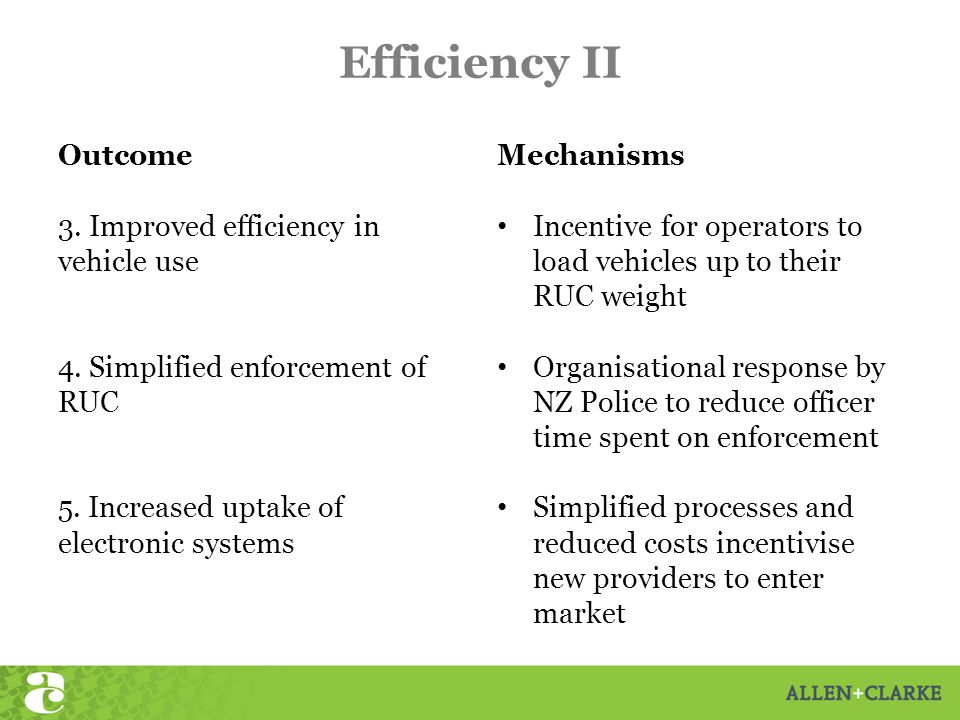 Efficiency II Outcome 3. Improved efficiency in vehicle use 4.