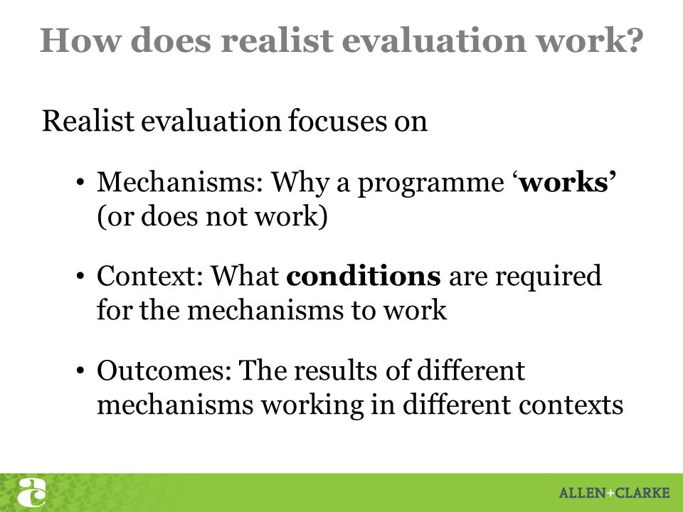 How does realist evaluation work.