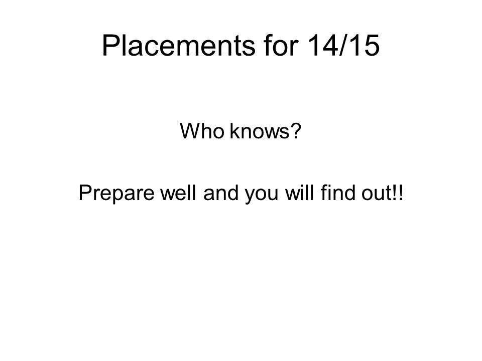 Placements for 14/15 Who knows Prepare well and you will find out!!