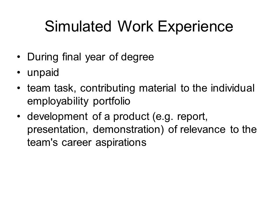 Simulated Work Experience During final year of degree unpaid team task, contributing material to the individual employability portfolio development of a product (e.g.