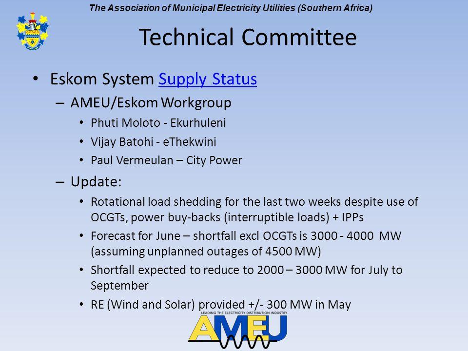 The Association of Municipal Electricity Utilities (Southern Africa) Eskom System Supply StatusSupply Status – AMEU/Eskom Workgroup Phuti Moloto - Eku