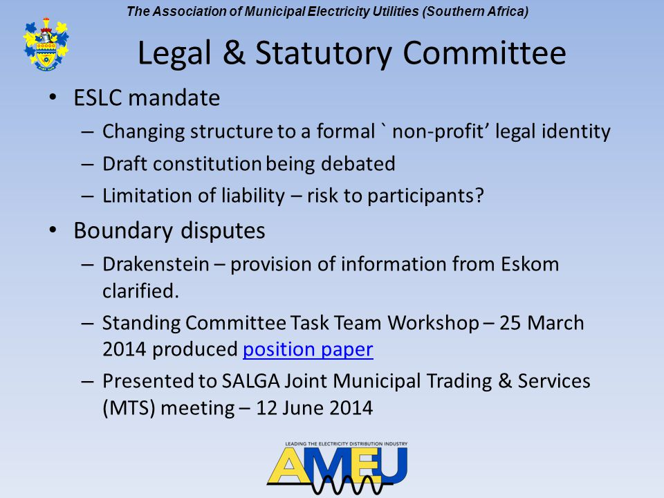 The Association of Municipal Electricity Utilities (Southern Africa) Boundary disputes – Agreed to recommend to NEC: SALGA engage NERSA on making SDA between Eskom and municipality a condition of Eskom's licence Seek legal opinion to provide clarity on rights of supply Propose a collaborative approach between SALGA, AMEU, Eskom, NERSA, DoE and DPE where a roadmap is agreed and put in place, that recognizes the development and signature of an SDA, EG route, and ultimately culminates in consolidation of supply rights.