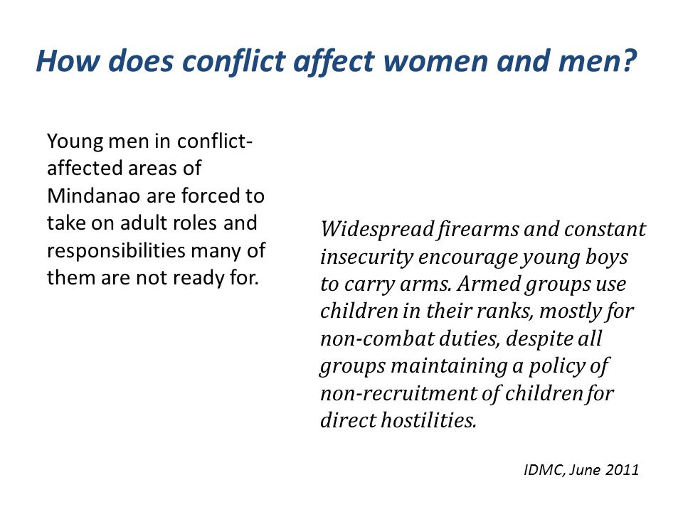 How does conflict affect women and men.