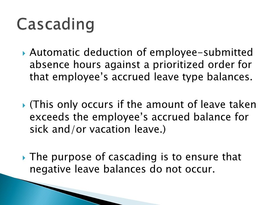  Automatic deduction of employee-submitted absence hours against a prioritized order for that employee's accrued leave type balances.